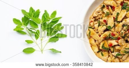 Holy Basil Leaves And Dish Of Stir-fried Chicken With Holy Basil On White Background.