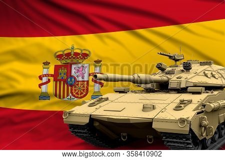 Spain Modern Tank With Not Real Design On The Flag Background - Tank Army Forces Concept, Military 3