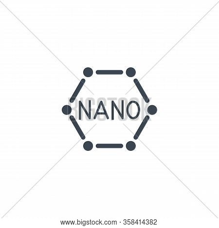 Nanotechnology Related Vector Glyph Icon. Isolated On White Background. Vector Illustration.