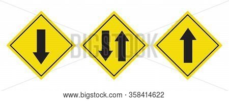 Road Sign Black Arrow Pointing Up And Down, Traffic Road Sign Yellow Isolated On White, Yellow Traff