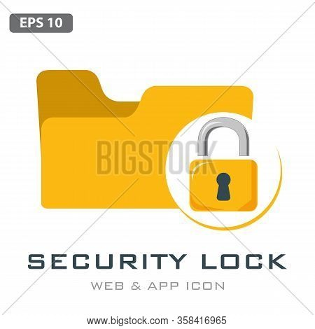 Lock Folder Icon Vector. Secured Folder Icon In White Background, Vector Illustration Can Be Used Fo