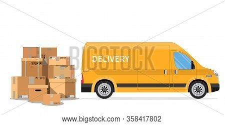 Delivery Truck Van And Cardboard Boxes With Fragile Signs Isolated On White Background. Online Deliv