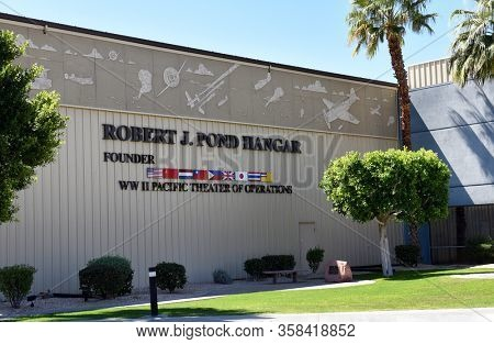 PALM SPRINGS, CA - MARCH 24, 2017: The Robert J Pond Hangar at the Palm Springs Air Museum.