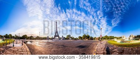 Scenic panorama of surroundings of the Eiffel Tower in Paris, France.