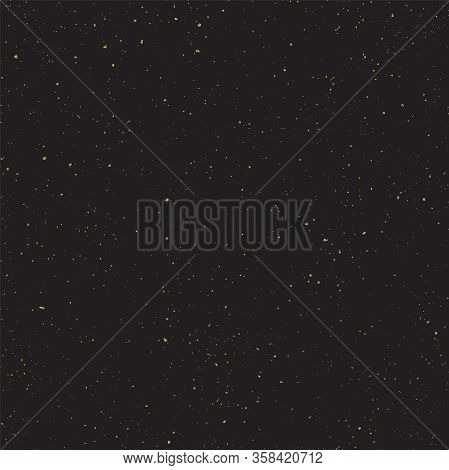 Abstract Vector Shiny Golden Textured Dust, Spots With Sparkled Gold Foil On Black Background. Golde