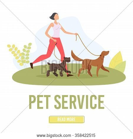 Pet Walking Service Trendy Flat Vector Web Banner, Landing Page Template. Female Dog Walker, Young W