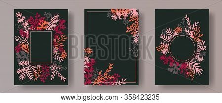Botanical Herb Twigs, Tree Branches, Leaves Floral Invitation Cards Templates. Herbal Frames Vintage