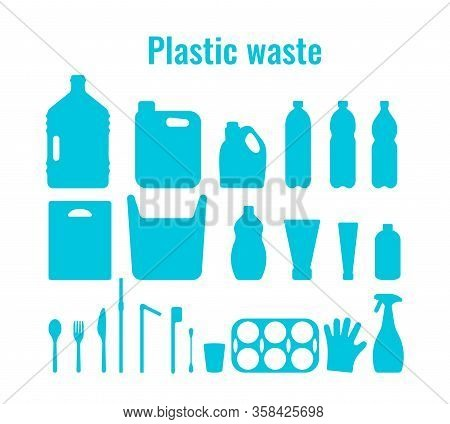 Plastic Containers And Single Use Dishes Set Vector Illustration. Plastic Waste Problem Symbol Colle