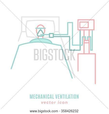 Mechanical Lung Ventilation Icon. Pulmonary Procedure Pictogram. Acute Respiratory Distress Syndrome