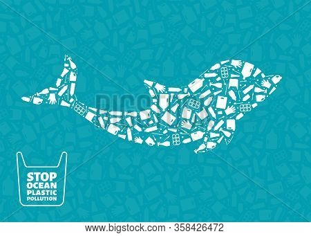 Stop Ocean Plastic Pollution Concept Vector Illustration. Dolphin Marine Mammal Outline Filled With