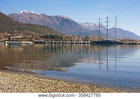 Tivat / Montenegro - March 12, 2020:  Beautiful Mediterranean Landscape. Coast Of Kotor Bay Near Tiv