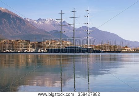 Tivat / Montenegro - March 12, 2020:  View Of  Marina Porto Montenegro In Tivat City And Sailing Yac