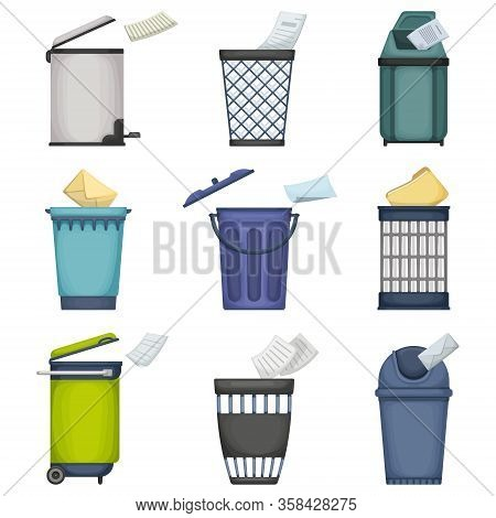 Can Trash Vector Cartoon Set Icon. Vector Illustration Garbage Basket On White Background. Isolated