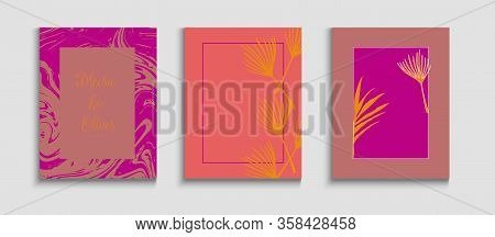 Abstract Elegant Vector Cards Set. Soft Monstera Leaves Invitation Layout. Hand Drawn Asian Backgrou