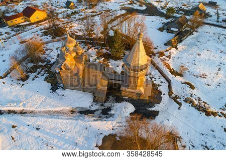 Top View Of The Ancient Church Of Dmitry Solunsky On April Sunny Evening (aerial Photography). Shche