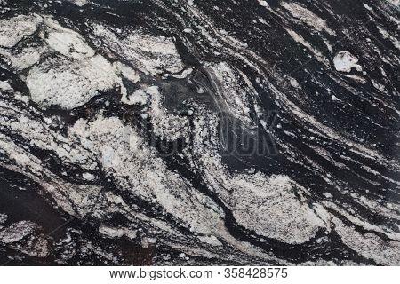 Contrast Granite Texture In Black End White Tone.