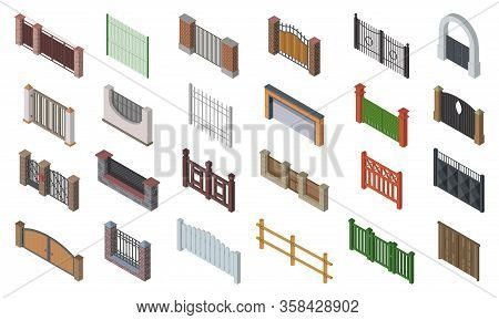 Fence Gate Vector Isometric Set Icon. Isolated Isometric Set Icon Wooden Gates. Vector Illustration