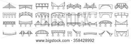 Bridge Of Construction Vector Outline Set Icon.vector Illustration River Architecture On White Backg