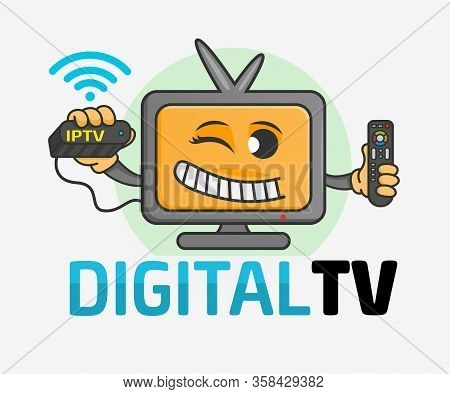 Smiling Cartoon Tv Or Computer Monitor With Happy Face Holding A Remote Control And Tv Set-top Box.