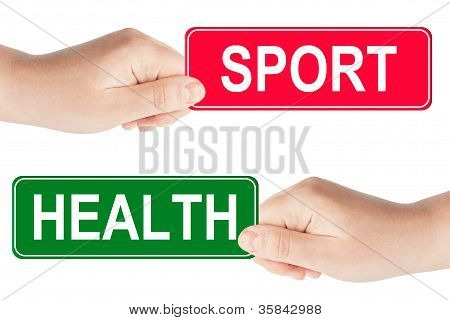 Sport And Health Traffic Sign In The Hand