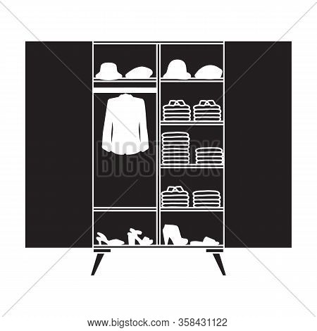 Closet Vector Icon.black Vector Icon Isolated On White Background Closet .