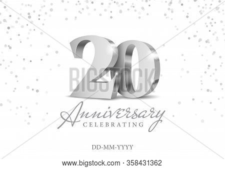 Anniversary 20. Silver 3d Numbers. Poster Template For Celebrating 20th Anniversary Event Party. Vec
