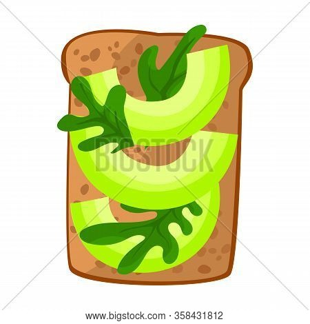 Toast With Avocado Vector Icon.cartoon Vector Icon Isolated On White Background Toast With Avocado.