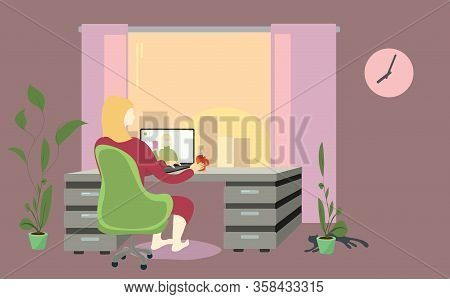 A Woman In Chair At The Table Is Negotiating A Video Call Against The Sunset In The Window. Later Ti