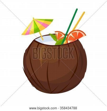 Cocktail Of Coconut Vector Icon.cartoon Vector Icon Isolated On White Background Cocktail Of Coconut