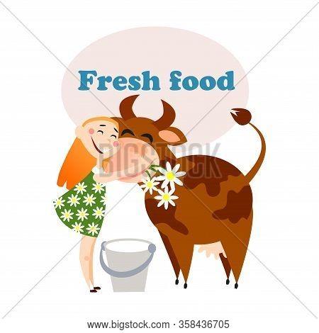 Farmer Girl Is Hugging Her Cow Before Milking It.