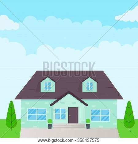 Modern House Exterior Flat Style Design Vector Illustration With Roof, Windows And Shadows. Classic