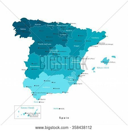 Vector Isolated Illustration. Simplified Administrative Map Of Spain (including Balearic, Canary Isl