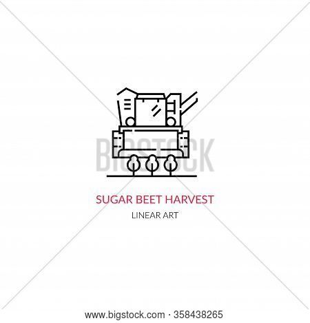 Sugarcane Production. Simple Vector Illustration. Linear Style.