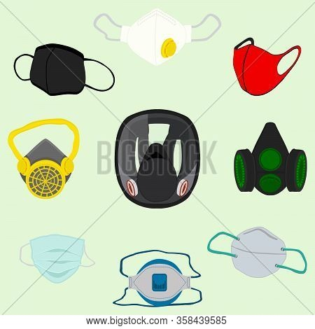 Different Of Respirator Masks For Prevention Coronavirus From Covid. Respirator Masks Consisting Of