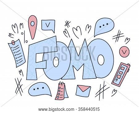 Fomo Abbreviation Text Emblem Isolated On White Background. Modern Social Anxiety Acronym. Fear Of M