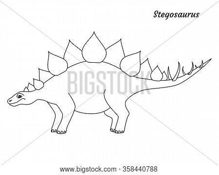 Coloring Page Outline Stegosaurus Dinosaur. Vector Illustration Isolated On White Background