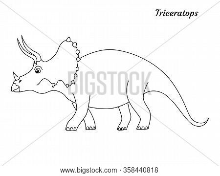 Coloring Page Outline Triceratops Dinosaur. Vector Illustration Isolated On White Background
