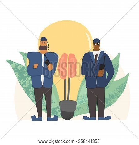 Creative Idea Saving. Security Guards Standing With Arms Crossed.two Men Wearing In A Guards Uniform