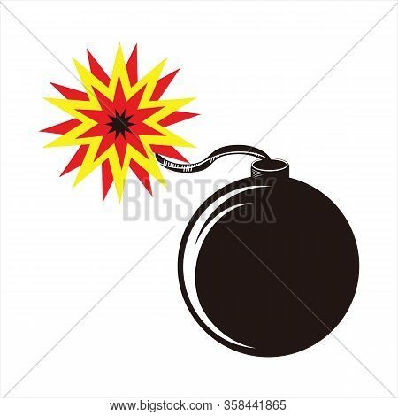 Bomb Icon, Rounded Round Bomb Vector Icon, Cartoon Bomb Icon, Black Bomb Icon, Simple Cartoon Style