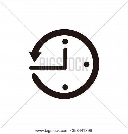 Clock Icon, Black And White Background Icon, Trendy Clock Icon, Modern Clock Icon For The Logo, Simp