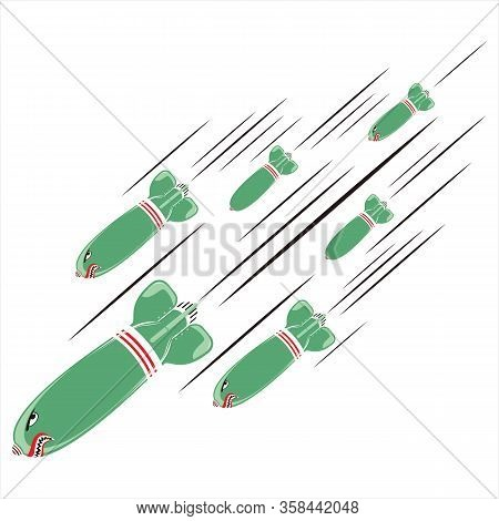 Missile Vector Icon, Military Icon, Cartoon Bomb Icon, Military Green Missile Icon. Cartoon Missile