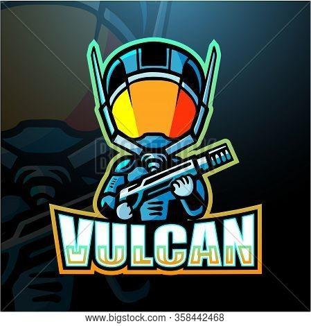 Vector Illustration Of Vulcan Mascot Esport Logo Design