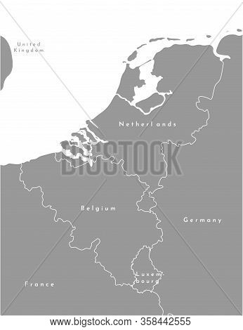 Vector Modern Illustration. Simplified Grey Political Map Of States Of Benelux Union And Neighboring