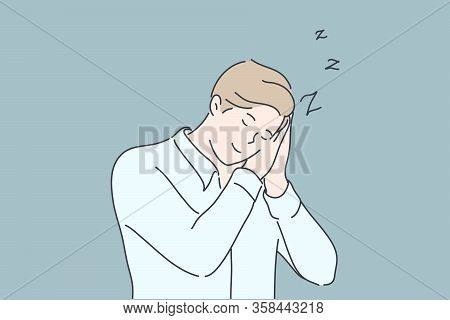 Business, Sleep, Fatigue, Insomnia Concept. Young Tired Businessman Or Boy Has Fatigue, Sleep On Wor