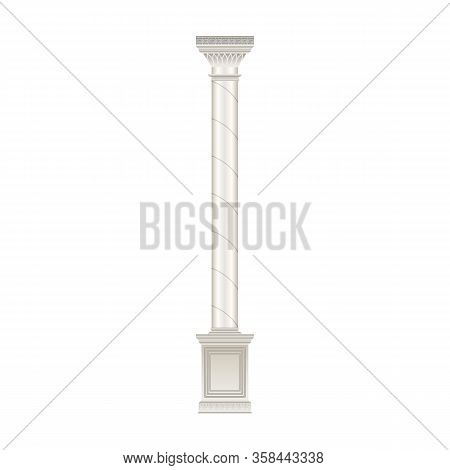 Column Pillar Vector Icon. Realistic Vector Icon Isolated On White Background Column Pillar.