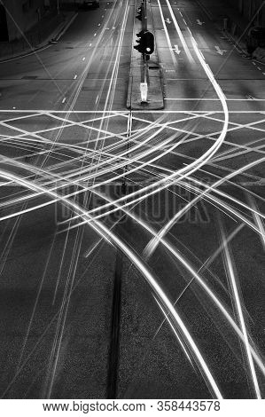 Light Trails Of Night Traffic In The Street In Hong Kong