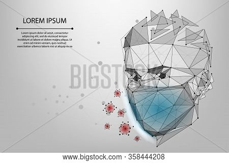 Abstract Line And Point Man In Protective Face Mask. Polygonal Protection Against Viruses Of Coronav