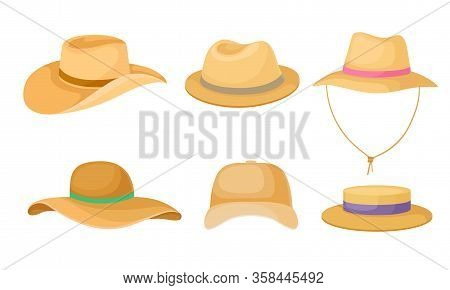 Wide Brimmed Textile Hats And Cap For Male And Female Vector Set