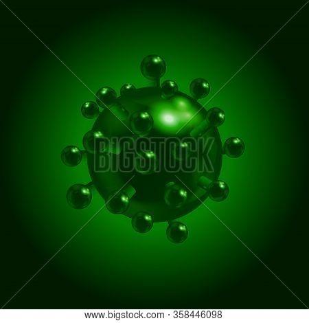 3d Illustration Of Covid-19 Coronavirus Molecule Over Dark Green Background