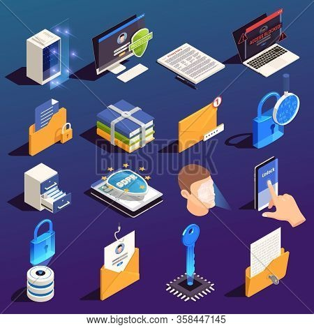 Privacy Data Protection Gdpr Isometric Icon Set With Isolated Images And 3d Pictograms Of Electronic